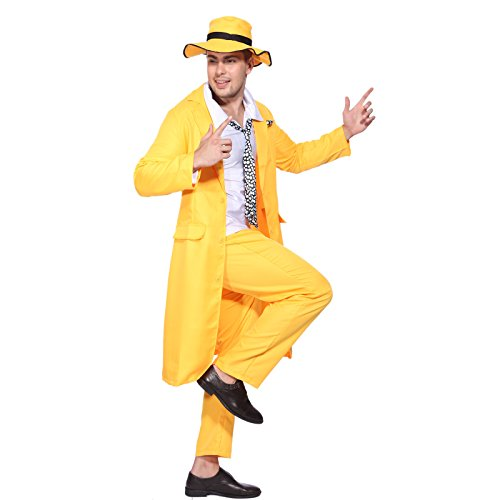 The Mask Costume (90s Yellow Gangster Zoot Suit The Mask Jim Carrey Costume Fancy Dress)