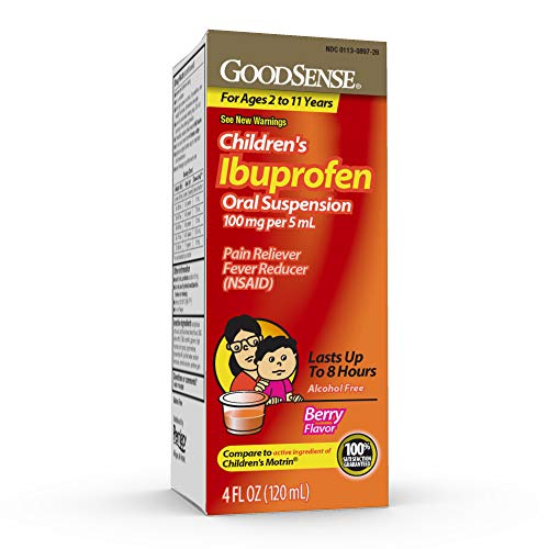 GoodSense Children's Ibuprofen Oral Suspension, 100 mg per 5 mL, Pain Reliever and Fever Reducer, Temporarily Reduces Fever and Provides Temporary Relief of Minor Aches and Pains, Berry Flavor
