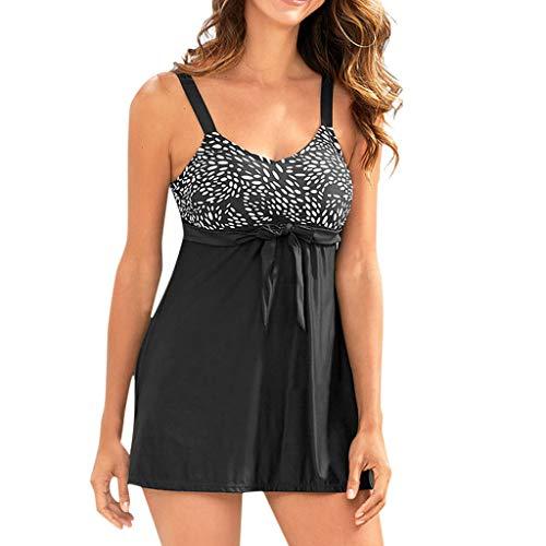 Print Freestyle Bow Tie - Guo Nuoen Women Plus Size Print Bow Tankini Bikini Bow Swimwear Elegant Swimsuit Push-Up Bathing Suits Black