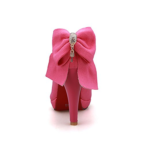 talón hilado bombas de zapatos adeesu con de poliuretano oro de zapatos Rosado Señoras ruedas bowknot formales 8E55qp