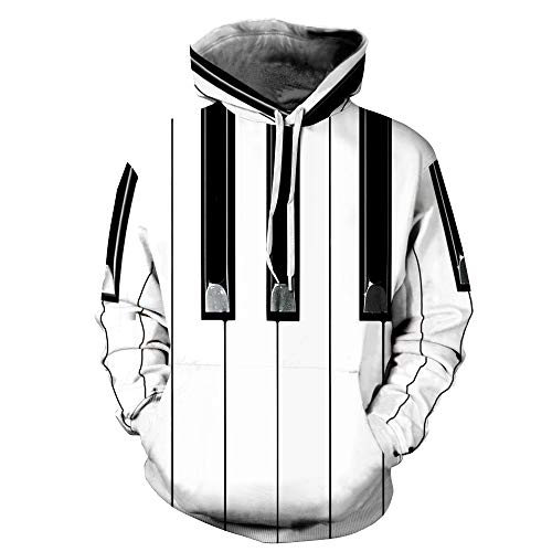 Sleeve Womens Piano Long - TAKUSHI HF Unisex Fashion 3D Printed Galaxy Long Sleeve Pullover Hoodies Hooded Sweatshirts with Pockets(Piano,L/XL)