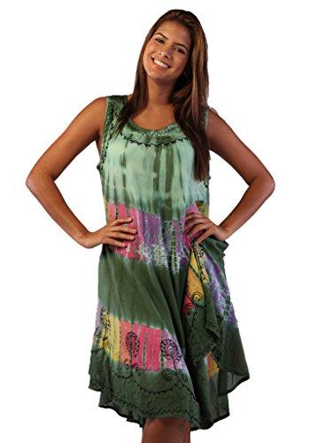 (Soft Rayon Casual Hand Tie Dye Neck Ari Short Beach Dress Tunic Coverup (One Size,)