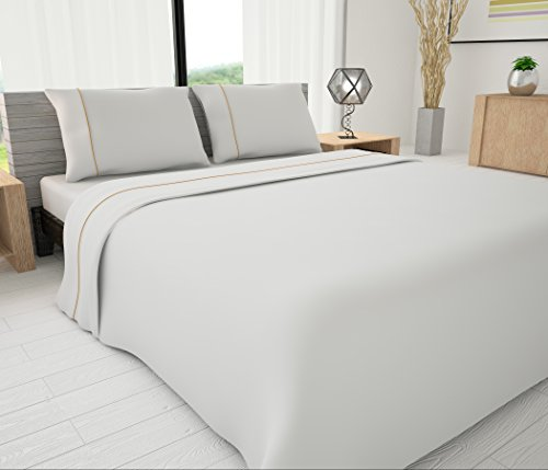 White Twin Jet - Livingston Home LH-33605 Novelty Bedding Sheet, White/Gold, Twin