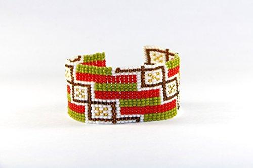 Ethnic Cuff (Wide Cuff Ethnic Bracelet for Women Ethnic Beaded Bangle Green Red Purple Ornamental - Glass Seed Bead Bracelets in Gift Box.)