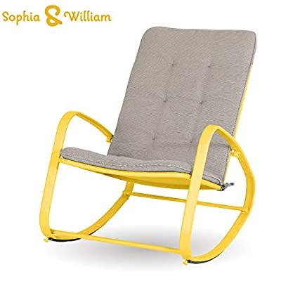 "Sophia and William Outdoor Patio Rocking Chair Padded Steel Rocker Chairs Support 300lbs, Yellow - Versatile High Back Outdoor Rocking Chair: Simple and stylish design, suitable for indoor & outdoor use like patio, deck, poolside, porch, backyard, balcony, garden. Ideal place for reading or a nap Comfortable & Breathable: The patio rocker provides capacious space, with soft and removable pad. Footrest bar frees your body from ground eliminating fatigue when rocking back and forth. Mesh design for back and seat perfectly avoids heat accumulation or sweat in summer Sturdy & Rust-Proof Patio Chairs: Reinforced powder coated steel frame (main frame tube size; 15.7""L*5.5H"") is anti-rust, supports up to 300 lbs - patio-furniture, patio-chairs, patio - 41KmYnK KAL. SS400  -"