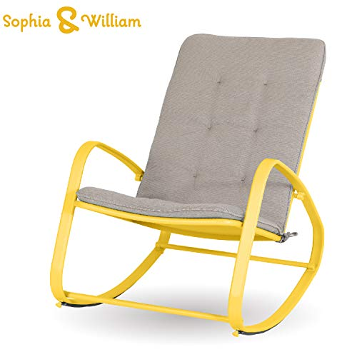 Sophia and William Outdoor Patio Rocking Chair Padded Steel Rocker Chairs Support 300lbs, Yellow (Chairs Yellow Porch)
