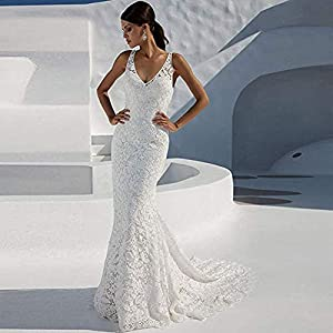 WanXiao Women's Mermaid Lace Wedding Dresses White Bridal Gowns
