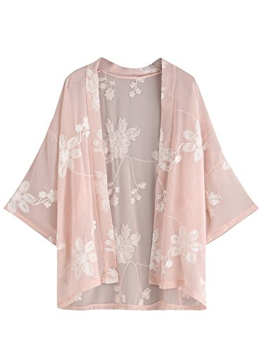 SweatyRocks Women's Floral Lace Crochet Kimono Cardigan Beach Wear Cover up (One Size, Pink#1)