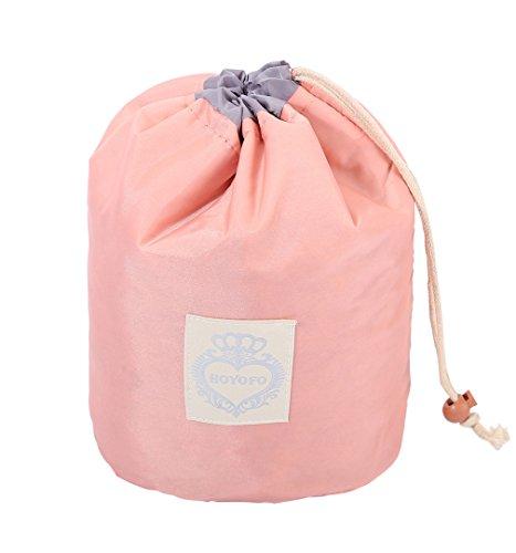 HOYOFO Barrel Travel Cosmetic Bags Women Makeup Toiletry Storage Bag