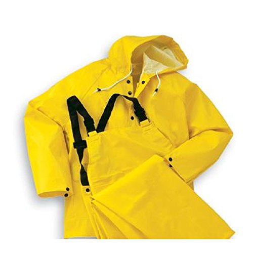 Bata Shoe 76052-XL Onguard Industries X-Large Yellow Webtex PVC and Non Woven Polyester Rain Bib Overalls with Snap Fly Front Closure, English, 15.34 fl. oz, Plastic, 0.26