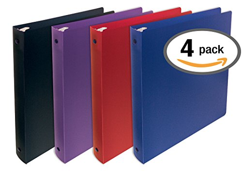 Better Office Products, 3 Ring Poly Binder with Pocket, 1 Inch, Letter Size, 4 Pack-Red, Blue, Purple, and (3 Letter Pockets)