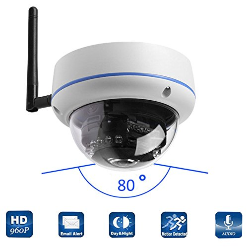 Mbangde 960P HD Wireless WIFI IP Network Outdoor Dome Camera, Home Surveillance CCTV Camera, 3.6mm Lens Wide Angle, 14 Leds Night Vision, Weatherproof / Waterproof