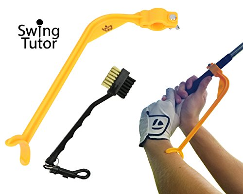Golf Training Aid with Club Cleaning Brush by Super Swing X | Swing Trainer for Men and Women and Seniors | For Putting, Alignment, Hitting, and Grip | Wrist and (Cleaning Aid)