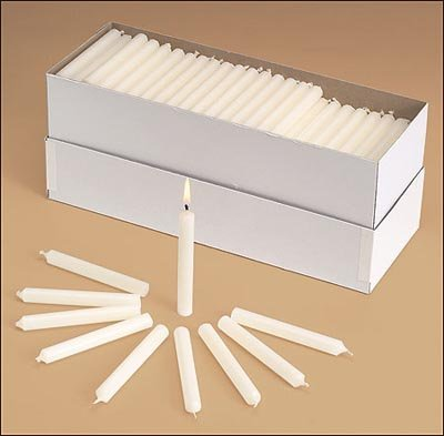 Church Service Memorial Vigil Ceremony Unscented White 1/2 x 5 3/4 Inch Candles - 100 Per Box