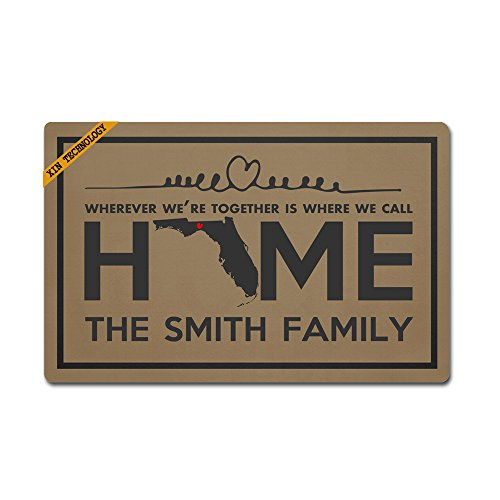 Florida Door Mat (Artsbaba Personalized Your Text Doormat Florida Home The Smith Family Doormats Monogram Non-Slip Doormat Non-woven Fabric Floor Mat Indoor Entrance Rug Decor Mat 23.6