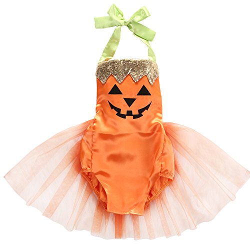 Baby Girls Halloween Costume Tutu Dress Pumpkin Halter Romper Jumpsuit Outfits (12-18 Months, Orange) -