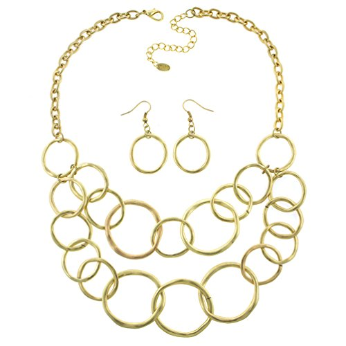 Necklace Link Designer Double (Heirloom Finds Hammered Gold Tone Double Layer Interlocking Link Necklace Earring Set)