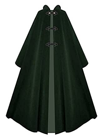 Victorian Vagabond Hooded Steampunk Historical Medieval Gothic Cape Cloak (Green)