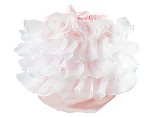 Haian ABDL PVC & Satin Panties Frilly Rumba Pants (Medium, Pink) -