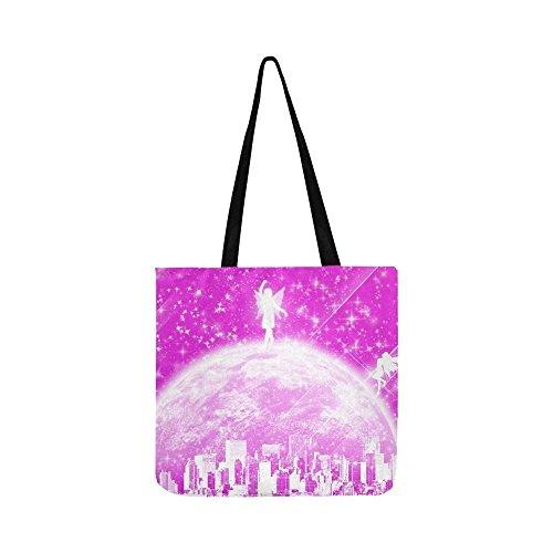 City Cross Disco Body - Fee City Mystical Full Moon Pink Canvas Tote Handbag Shoulder Bag Crossbody Bags Purses For Men And Women Shopping Tote