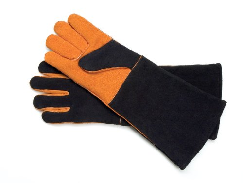Steven Raichlen Bbq (Steven Raichlen Best of Barbecue Extra Long Suede Grill Gloves (Pair) - SR8038)