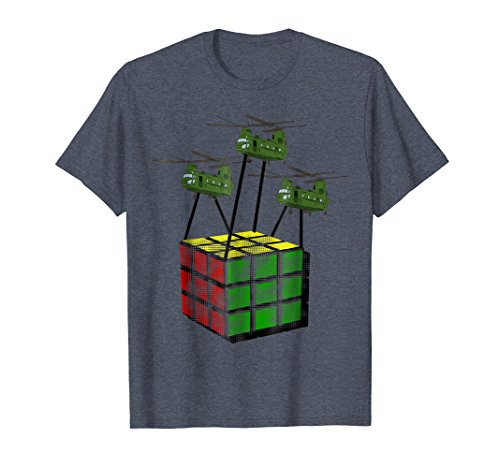 Mens Big Giant Rubik Attacked by Chinooks Helicopters Fun Shirt XL Heather Blue Fun Helicopter