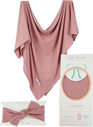 Posh Peanut Baby Swaddle Blanket - Large Premium Knit Baby Swaddling Receiving Blanket and Headband Set, Baby Shower Newborn Gift (Dusty Rose)
