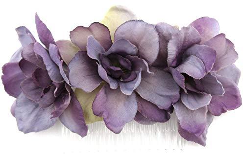 Triple Lavender Apple Blossom Silk Hair Comb ()