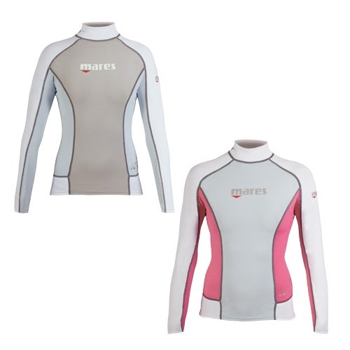 (Mares Women's She Dives Trilastic Rash Guard Shirt Long Sleeve - Black/Pink - 4)