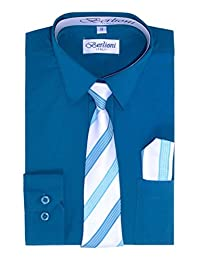 Berlioni Italy Kids Dress Shirt Necktie and Hanky 727 Teal