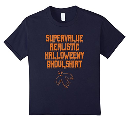 Kids Ghost Halloween Shirt 12 Navy