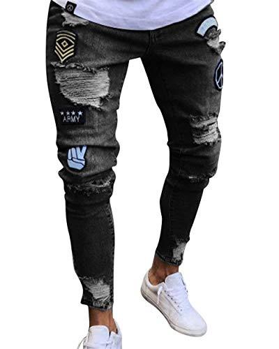 Pantaloni Strappati Comodo Nero Battercake Uomo Con Fit Slim Jeans Da Denim Conici Skinny Taglio UdqPqWA