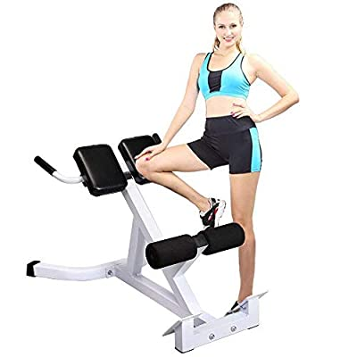 Ferty Back Hyperextension Fitness Bench, Adjustable Roman Chair 45 Degree AB Back Exercise Machine Sport Gym Indoor Equipment - White & Black