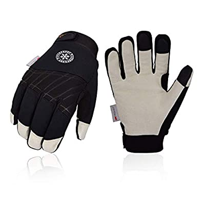 Vgo 3Pairs 32? or above 3M Thinsulate C40 Lined Winter Premium Pigskin Leather Waterproof Work Gloves (Black,PA1016FW)