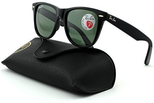 Ray-Ban RB2140 Wayfarer Unisex Square Polarized Sunglasses (Black Frame, Crystal Green Polarized Lens 901/58, - Wayfarer Ban Ray Rb2140 901