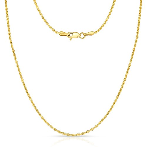 20 Inch 10k Yellow Gold Thin Solid Diamond Cut Rope Chain Necklace, 1mm by Glad Gold