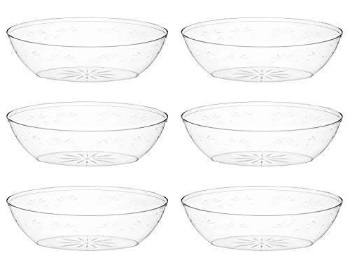 Plastic Serving Bowls,- 6 Pack - Disposable Bowl for Parties, Snack, Salad, Reusable, Clear 64 Ounce