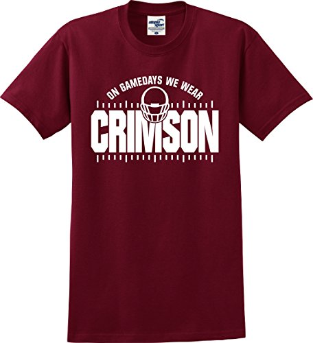 Alabama Crimson Tide Fans On Gamedays We Wear Crimson Football T-Shirt (S-5X) (XXX-Large)