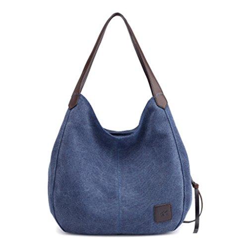 Purse Kofun Handbag For Deep Messenger Bag Hobo Tote Lady Canvas Women Bags Shoulder Beige Blue p0xTp
