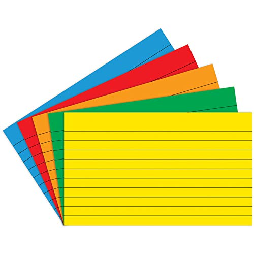 Top Notch Teacher Products TOP3662 Index Cards, Lined, Assorted Primary Colors, 3