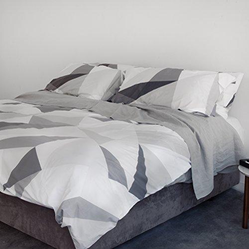 Huddleson Diamond Grey Geometric Printed 500TC Cotton Percale Duvet Cover and Shams - King