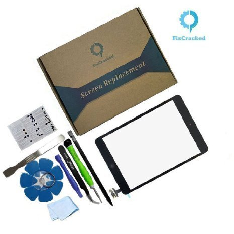PC Hardware : iPad mini 1 / ipad mini2 Front Glass/Digitizer Touch Panel Full Assembly with IC Chip & Home Button replacement &tool kit Black(Step by Step Instruction)