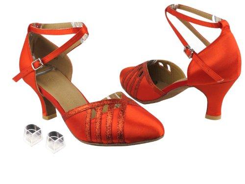 レディースレディース社交ダンス靴Very Fine eksa3530 Sera 2.5 CMヒール、ヒールプロテクター B00G0MR42E Red Satin & Red Stardust Trim 7.5 B(M) US