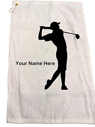 "Personalized Golf Towel Set - Includes One Personalized 16"" x 26"" Golf Towel - 3 Personalized Golf Balls - 15 Golf Tees. (Black)"