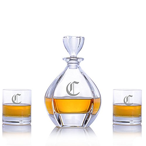 Custom Laguna Crystal Whiskey Liquor Decanter Set with 2 Rocks Glasses by Crystalize Engraved & Monogrammed (3 Piece Set-Customizable) by Crystalize