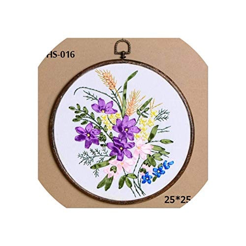 DIY Ribbons Embroidery for Beginner Needlework Kits Cross Stitch Colorful Flowers Wall Art Home Decoration Meet Sets,HS-016,no Hoop