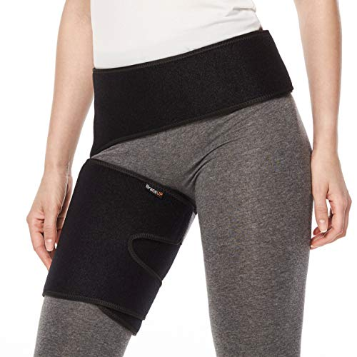 BraceUP® Groin and Hip Compression Support Brace, Sciatica Wrap for Nerve Pain Relief, Hamstring, Thigh, Quadriceps Injuries ()