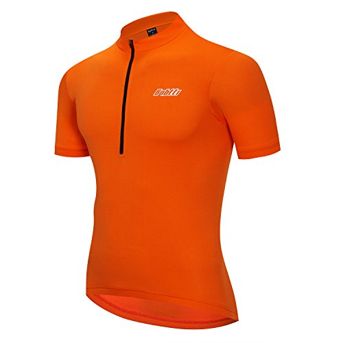 Bpbtti Men's Short Sleeve Cycling Jersey-Solid Colors (X-Large Chest 42-44′, Orange)