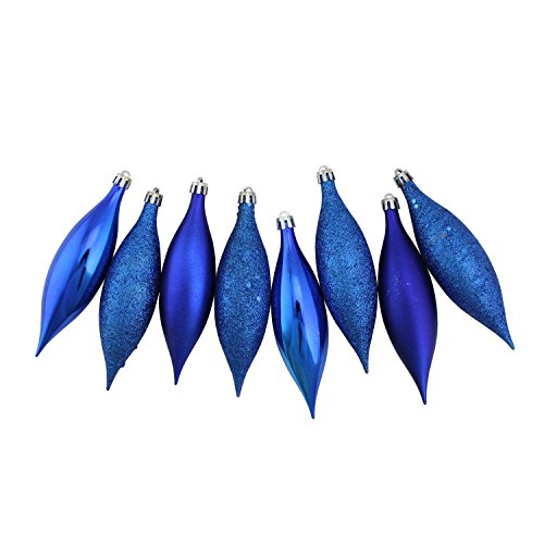 Northlight 8ct Royal Blue Shatterproof 4-Finish Christmas Finial Drop Ornaments 5.5