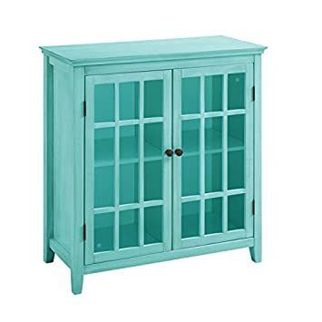 Double Door Cabinet In Antique Turquoise Finish